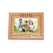 Engravable Mom Hearts Border Wood Frame