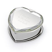 Engravable Mirror Cover Heart Jewelry Box