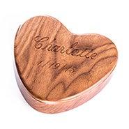 Engravable Walnut Wooden Heart Jewelry Box