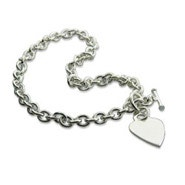 Designer Style Heavy Gauge Silver Heart Tag Necklace