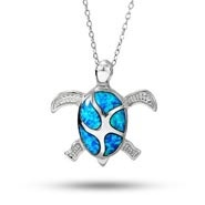 Sterling Silver Opal Sea Turtle Necklace