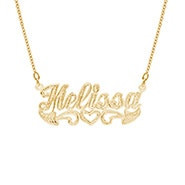 14K Gold Plated Carved Script Nameplate Necklace