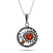 Celestial Sun and Moon Sterling Silver Baltic Amber Pendant
