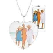 Color Photo Heart Diamond Cut Necklace