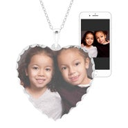 Large Heart Sterling Silver Diamond Cut Color Photo Necklace