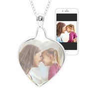 Mother of Pearl Heart Sterling Silver Color Photo Necklace