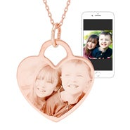 Rose Gold Heart Photo Necklace