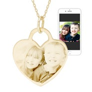 Gold Heart Photo Necklace