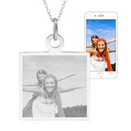 Engravable Sterling Silver Square Tag Photo Necklace