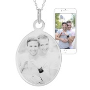 Oval Tag Photo Necklace