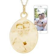 Gold Oval Tag Photo Necklace
