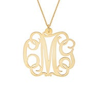 Fancy Script Gold Monogram Necklace