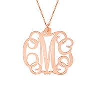 Script Rose Gold Monogram Necklace