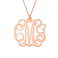 Script Rose Gold Monogram Necklace