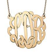 Solid 10K Gold Monogram Necklace