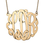 Solid 10K Gold Monogram Necklace