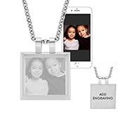Stainless Steel Cushion Tag Picture Necklace