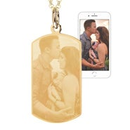 Personalized Gold Plated Dog Tag Photo Necklace