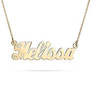 Custom 14K Solid Gold Simple Script Name Necklace