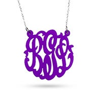 Purple Acrylic Monogram Necklace