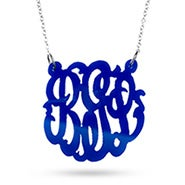 Blue Monogram Acrylic Necklace
