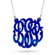 Blue Monogram Acrylic Necklace