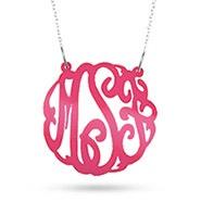 Pink Acrylic Monogram Necklace