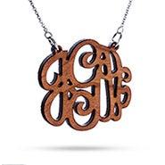 Custom Cherry Wood Monogram Necklace