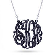 Acrylic Black Glitter Monogram Necklace