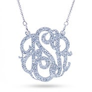 Silver Glitter Monogram Acrylic Necklace