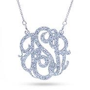 Silver Glitter Monogram Acrylic Necklace