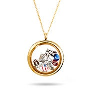 Gold Round Build A Charm Glass Floating Locket