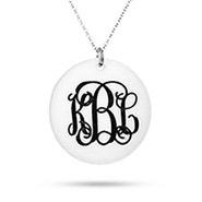 Fancy Script Round Monogram Acrylic Necklace