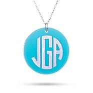 Block Monogram Round Charm Acrylic Necklace