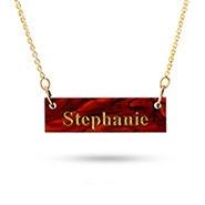Acrylic Name Bar Gold Necklace