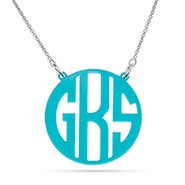Block Style Monogram Acrylic Necklace