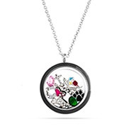 Black Build A Charm Floating Locket