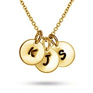 Hand Stamped Three Charm Gold Plated Initial Necklace