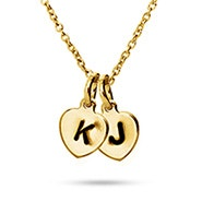Hand Stamped Gold Plated Double Heart Charm Initial Necklace