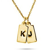 Hand Stamped Gold Plated Double Rectangle Charm Initial Necklace