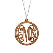 Script Wood Carved Monogram Necklace