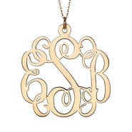 14K Solid Gold Fancy Script Monogram Necklace