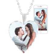 Small Heart Color Photo Necklace