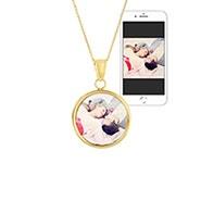 Round Gold Bezel Frame Color Photo Necklace