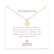 Dogeared New Beginnings Lotus Gold Dipped Necklace