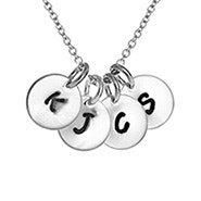 Hand Stamped Four Charm Mini Initial Necklace