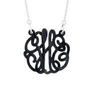 Black Marble Acrylic Monogram Necklace
