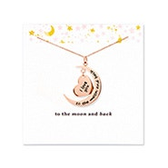 To The Moon and Back Rose Gold Heart and Moon Necklace