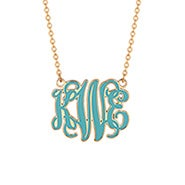 Enamel Script Large Monogram in Gold