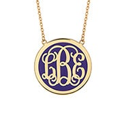 Enamel Script Monogram Disc Necklace in Gold